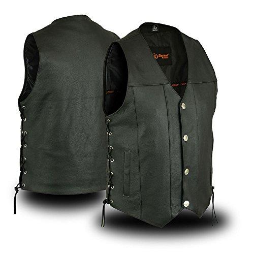 Mens Premium Leather Vest - Mens Biker Riding Premium Butter Soft Buffalo Nickle Snap Button Leather Vest(L)