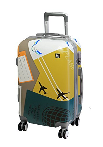 with Bear Cabin Planes Spinner 55x35x22cm Luggage Carry Wheels on A2S Lightweight Hard Bag Airplanes 8 Suitcase amp; Durable Polar Shell qwp8F
