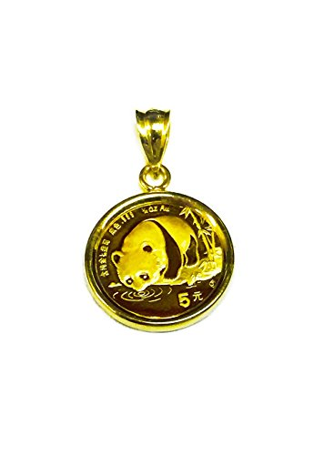 - 24K Chinese Panda Bear Coin Set In 14K Solid Gold Coin Charm Pendant-Random Year Coin
