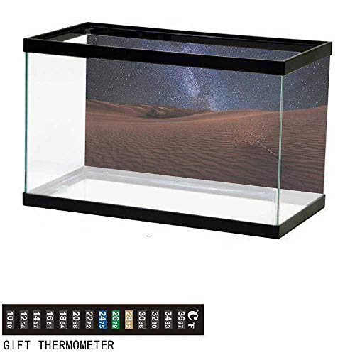 wwwhsl Aquarium Background,Space,Life on Mars Themed Surreal Surface of Gobi Desert Dune Oasis Lunar Adventure Photo,Brown Blue Fish Tank Backdrop 30