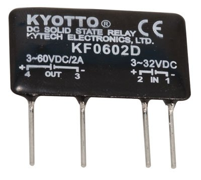 "Kyoto Electric KF0602D DC-to-DC Solid State Relay, 32 Volt, DC Input, 2 Amp, 4-Pin, 1.4""L x 0.3""W x 0.9""H"