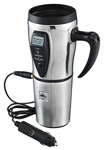 Warmer Mug Coffee (Tech Tools Heated Smart Travel Mug with Temperature Control 16 Ounce, 12V Adapter - Stainless Steel)