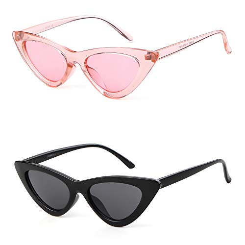 (Gifiore Retro Vintage Cat Eye Sunglasses for Women Clout Goggles Plastic Frame Glasses (Black&Pink,)