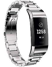 Metalen band Compatibel met Fitbit Charge 3 Charge 4 Bands Vervanging Bandjes Rvs voor Charge 3 Smartwatch Heren & Vrouwen (Zilver)
