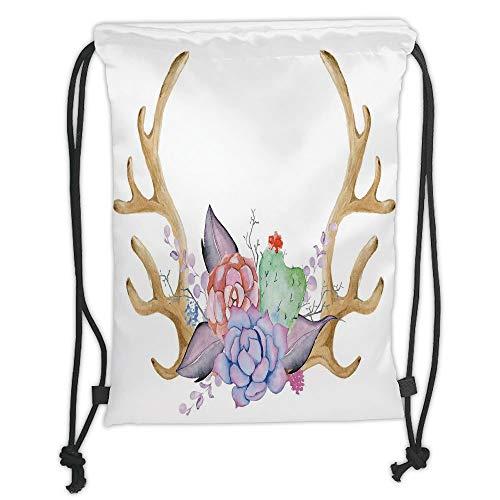 New Fashion Gym Drawstring Backpacks Bags,Antler Decor,Hand Painted Deer Horns with Cactus Flowers Botanical Bouquet Vintage Wreath Decorative,Multicolor Soft Satin,Adjustable Str -