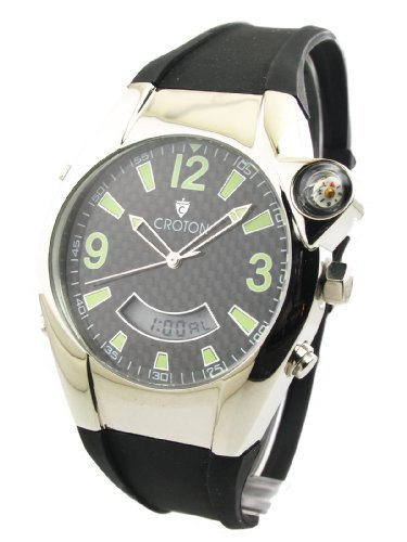 Mens Croton Rubber Chrono Alarm Dual Time Day Date Watch CA301099BSBK