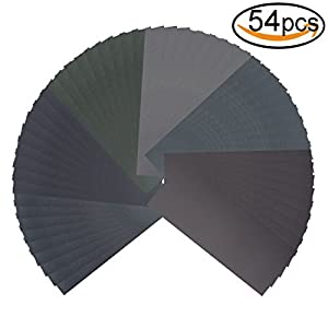 54pcs Wet Dry Sandpaper Assorted 3000/2500/2000/1500/1200/1000 Grit for Automotive Sanding by V-story