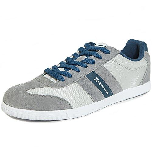 Alpine Swiss Haris Men's Suede Trim Retro Striped Sneakers, Gray, 13 D(M) (Alpine Mens Shoes)