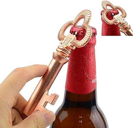 Makhry Multifunción Vintage Clave de Esqueleto Vino Abridor de Botellas Camareros Sacacorchos Para Regalo de Invitado de Recuerdo (Oro rosa)
