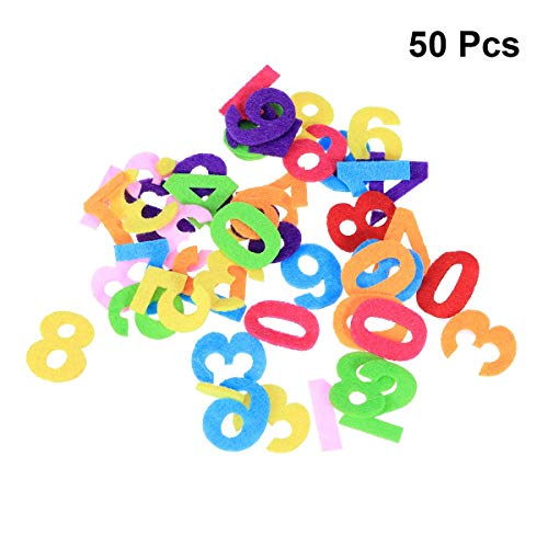 (Healifty Felt Numbers Fabric Toy for DIY Craft Kids Christmas Birthday Party Decor 50pcs (Mixed Color and)