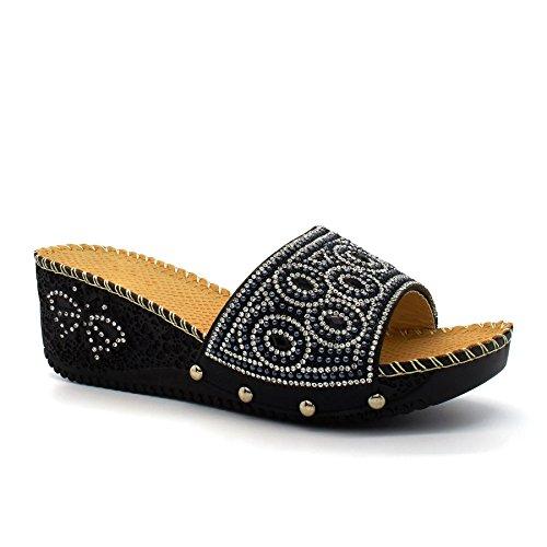 London Footwear - talón abierto mujer Negro - negro