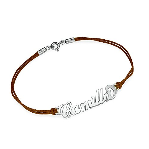 name bracelet with leather style cord custom made with