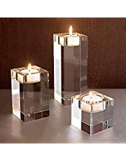 """OSLAMP Crystal Candle Holders Set of 3, 2.3""""/3.9""""/5.5"""" Height Square Tea Light Candle Holders for Table, Crystal Votive Candlestick Holders, Clear Glass Candle Centerpieces for Home Decor, Wedding"""