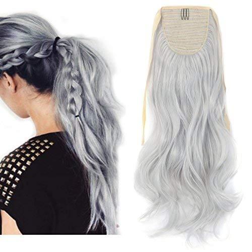 Amazon Com Women Hair 24 60cm Curly Silver Grey Wrap Around