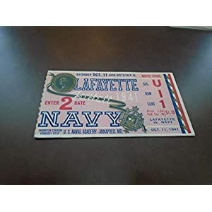 1941 LAFAYETTE AT NAVY COLLEGE FOOTBALL TICKET STUB EX