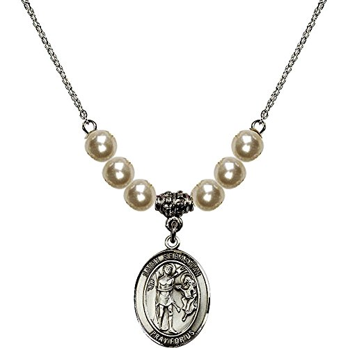 18-Inch Rhodium Plated Necklace with 6mm Faux-Pearl Beads and Saint Sebastian Charm ()