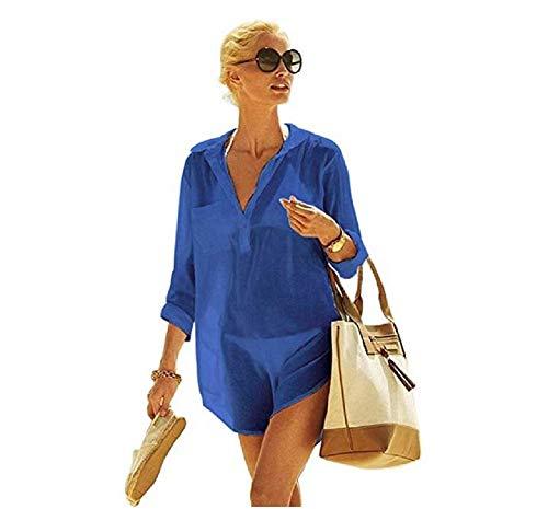 NFASHIONSO Women's V-Neck Swimsuit Beach Cover Up Shirt Bikini Beachwear Bathing Suit Beach Dress,Blue