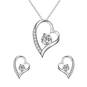 EleQueen Women's 925 Sterling Silver CZ Heart-Shape Lovely Heart Pendant Necklace Stud Earrings Jewerly Sets, Rolo Chain 20''