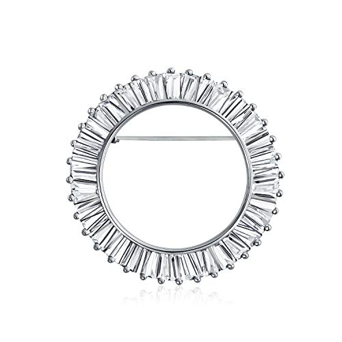 Bling Jewelry Eternity Round 5.76 CT Cubic Zirconia Baguette Cut Circle of Life Scarf Brooch Pin for Women Rhodium Plated Brass