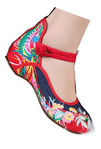 TIANRUI CROWN Women's flower Embroidery Casual Mary Jane Shoes