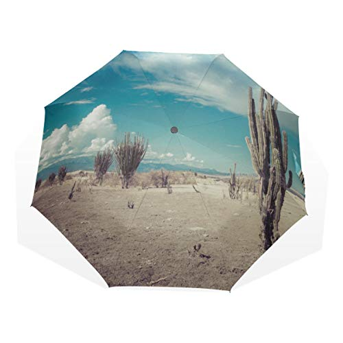 Rain Sun Umbrella Beautiful Desert In The Sunset 3 Fold Art Umbrellas(outside Printing) Sun Protect Umbrella Travel Umbrella Wind Girls Folding Umbrella
