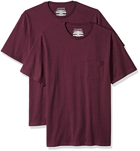 Amazon Essentials Men's 2-Pack Loose-fit Crew Pocket T-Shirt, Burgundy, Large ()