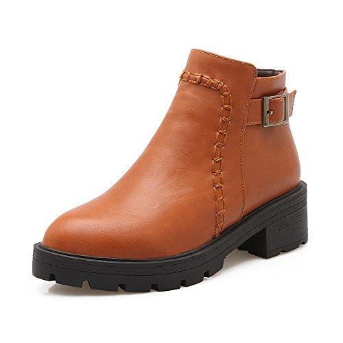 Toe Solid Brown Boots AllhqFashion Round Top Zipper Kitten Closed Low Heels Womens pp0tTR