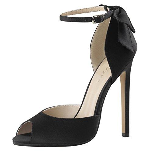Satin Sandalette, Damen, Schwarz (schwarz) Schwarz (Schwarz)