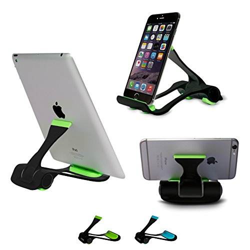SIME-ON: Phone and Tablet Stand, Desk Holder Compatible with iPhone, iPad (Mini), Samsung Devices, Universal, Portable, Adjustable Multi-Angle - Black-Green