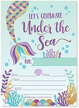 Amazon.com: 25 invitaciones de fiesta de cumpleaños con ...