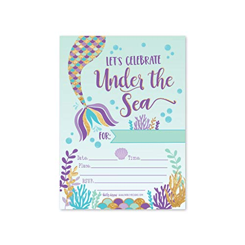 25 Mermaid Under The Sea, Girls Magical Pool Themed Kids Birthday Party Invitation Supplies, Faux Glitter Aqua Beach Ocean Invite Idea, Baby Shower or Bday Decoration Cards, First Printable Template -