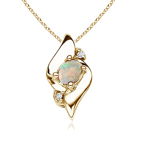 Yellow Diamond Shell - Shell Style Oval Opal and Diamond Pendant in 14K Yellow Gold (4x3mm Opal)