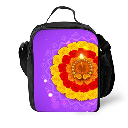 Insulated Waterproof Lunch Tote, Classic Durable Picnic Bag Diwali Rangoli