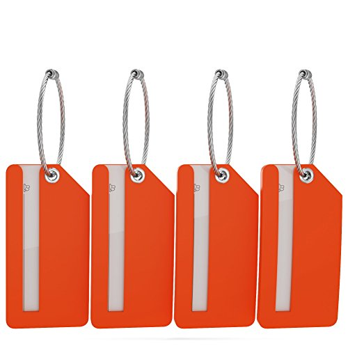 Small Luggage Tags with Privacy Cover & Metal Loop - (4pk