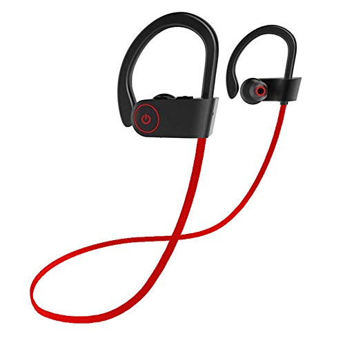Bluetooth Headphones IPX7 Waterproof, Wireless Sport Earphones Bluetooth 4.1, HiFi Bass Stereo Sweatproof Earbuds w/Mic, Noise Cancelling Headset for Workout, Running, Gym, 8 Hours Play Time