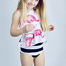 c18c5ce8cacb3 Amazon.com  Toddler Girls High Waist Swimsuit Tropical Flora  Handmade