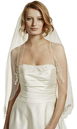 Passat Ivory 1T Fingertip Scalloped Wedding Veil with Bead and Crystal MotifDB6