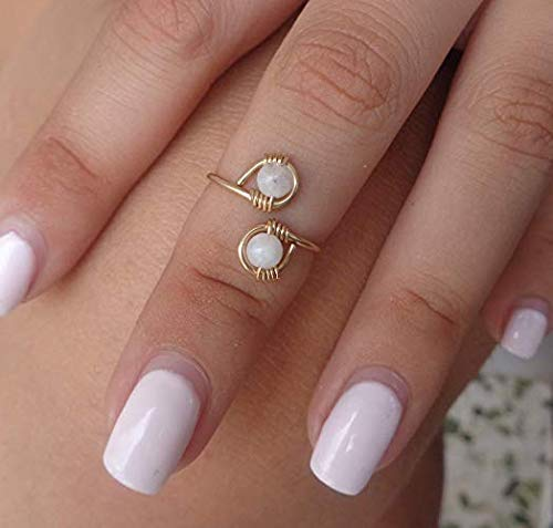 14K Solid Gold Toe,Knuckle Ring Wrapped Gemstone,Pearl,Swarovski
