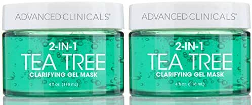 Advanced Clinicals Tea Tree Oil Mask. 2-in-1 overnight sleep mask w/Tea Tree Oil, Witch Hazel & Grapefruit Extract for dry skin, T-zone oil control, clogged pores, congested skin 4 fl oz (Two - 4oz)