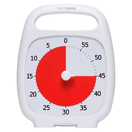 Time Timer Plus 60 Minute Visual Analog Timer  White   Optional Alert  Volume Control Dial   No Loud Ticking  Time Management Tool