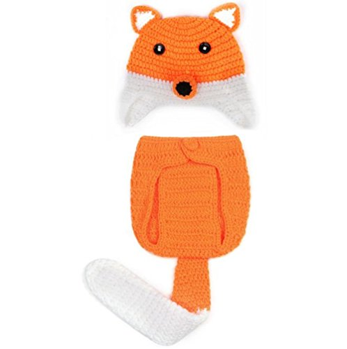 [Newborn Baby Crochet Costume Photography Prop Outfit Fox] (Baby Fox Costumes For Infants)