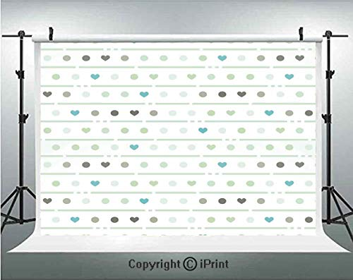 Mint Photography Backdrops Sweet Polka Dots Hearts and Stripes Pattern Valentines Retro Cute Love Art Design,Birthday Party Background Customized Microfiber Photo Studio Props,7x5ft,Almond Green