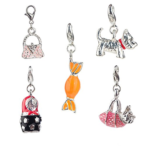 (Fantastic Deal And Quality Set of 5 Charming Silver Colored Clip On Pendants / Charms For Bracelets / Bangles In Shapes of Dog, Pink Hand Bag, Candy In Orange Color, Black And Red Doll And Terrier In Hot Pink Bag By VAGA )