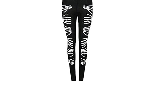 2eb8eb2aac8884 MA ONLINE Ladies Fancy Skelton Hand Bone Print Halloween Pants Womens Party  Wear Legging Tights at Amazon Women's Clothing store: