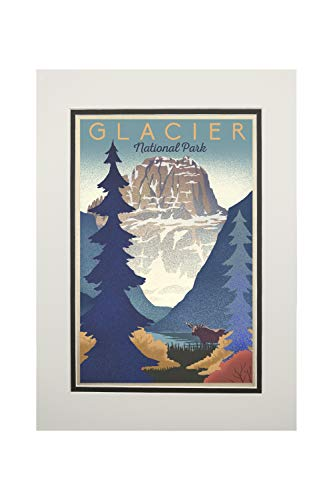 Glacier National Park - Mountain Scene - Lithograph (11x14 Double-Matted Art Print, Wall Decor Ready to Frame)