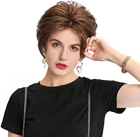 HAIRCUBE Lace Front Wigs Mono-Filament Crown Hand-Tied Pixie Cut Wigs for Women Medium Medium Brown Human Hair Wigs for White Women