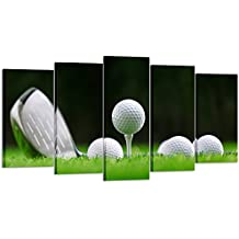 Kreative Arts - 5 Pieces Canvas Prints Wall Art A Golf Course Club with Golf Ball on Green Glass Picture Stretched Gallery Canvas Wraps Giclee Print for Modern Home Decor Ready to Hang