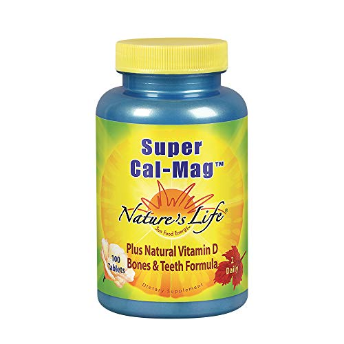 Nature's Life Super Cal Mag | 1000mg of Calcium & 500mg of Magnesium with Vitamin D-2 | Healthy Teeth & Bones Support | 100 Vegetarian Tablets Review