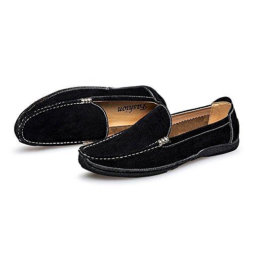 Mocasines Mocasines Penny Genuino Hecho EU conducción Shufang Cuero Trabajo Gamuza shoes a tamaño Zapatos para Negro Hombres Gris Color Mocassins Boat los Mano Sutura 2018 Hombre de 44 de qOxEYHxR