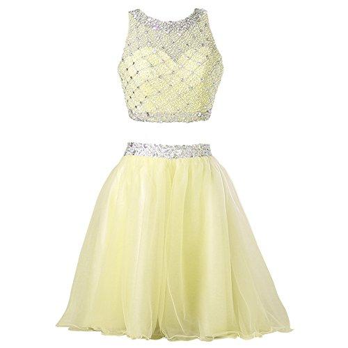 Callmelady® Vestido de Fiesta Cortos Dos Piezas 2017 Vestidos de Coctel Mujer Amarillo